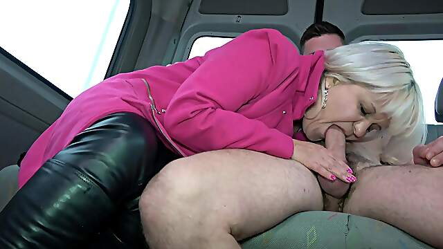 Deep delight with a granny on the back seat