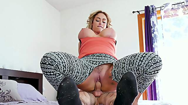 Appealing stepmom bends for son's young cock