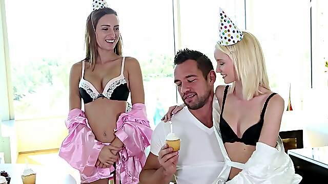 Birthday FFM threesome on the sofa in HD with Sammie Daniels