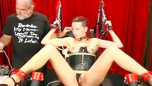 BDSM, Black, Corset, Dungeon, HD, Old man, Small tits