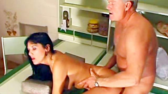Blowjob, Brunette, Doggy style, Grandpa, High heels, Old and young, Panties, Pussy licking, Riding