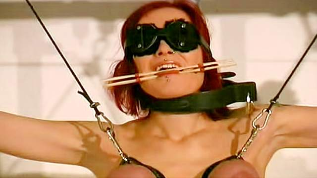 BDSM, Dungeon, Gagging, Hanging, Maledom, Punishment, Stockings, Tied, Tits torture