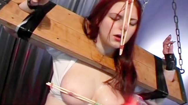 BBW, BDSM, Bondage, Brunette, Chinese, High heels, Stockings, Tits torture, Wax