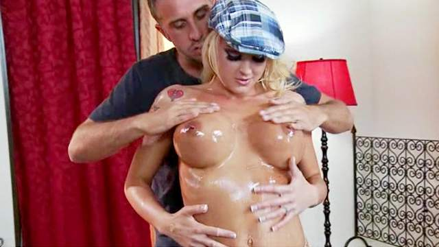 Fit oiled girl fucked in hardcore video