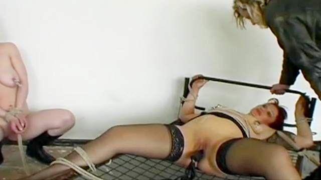 BDSM, Bondage, Maledom, Shibari, Stockings, Tits torture, Wax