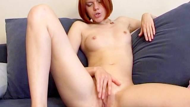 Lean body redhead strips from dress