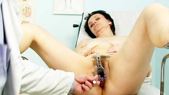 Hairy pussy mature gets gyno exam