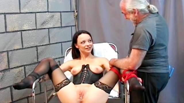 BDSM, Brunette, Corset, Hanging, Maledom, Rope, Tits torture