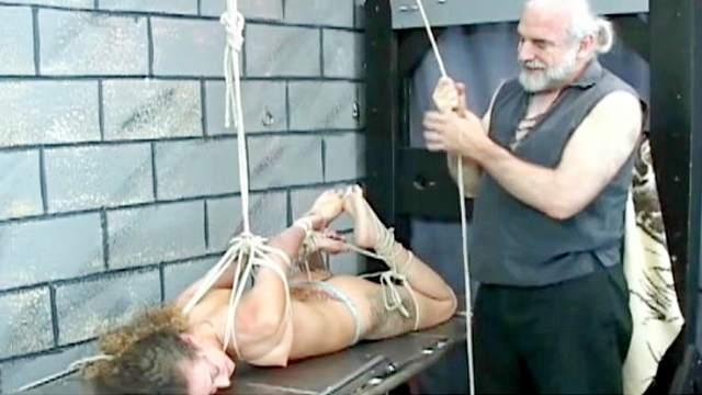 BDSM, Brunette, Domination, Hanging, Maledom, Rope, Shaved pussy