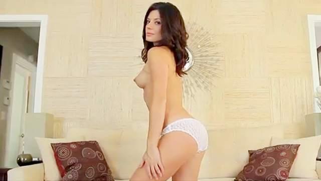 Sexy brunette Sarah Clayton is taking off her nice panties