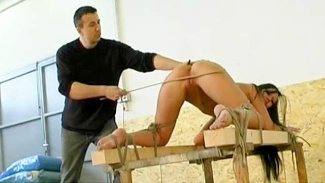 BDSM, Brunette, Hanging, Pain, Punishment, Small tits, Spanking, Tied
