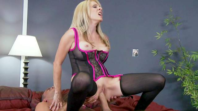 Angela Attison is riding on the dick of Keiran Lee